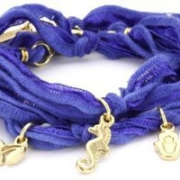 Ettika Blue Knotted Vintage Ribbon Wrap Bracelet with Gold Colored Charms: Jewelry: Amazon.com