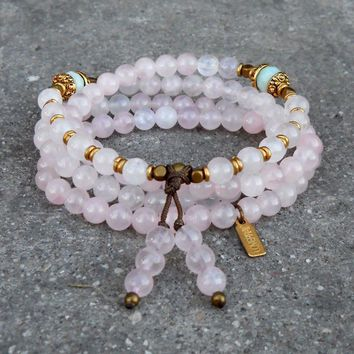 Healing and Confidence, Rose Quartz and Amazonite Gemstone 108 Bead Convertible Mala Necklace