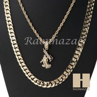 """MEN ICED OUT UZI ROPE CHAIN DIAMOND CUT 30"""" CUBAN LINK CHAIN NECKLACE SET SS04G"""