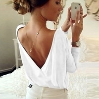 White Open Back Long Sleeve Women Loose Top