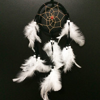 """3in Black Dream Catcher with White Feathers Hanging Decoration Ornament 12"""""""