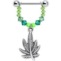 """Handcrafted 14 Gauge 5/8"""" Green Gem Pot Leaf Dangle Nipple Ring 
