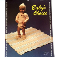 Vintage Knitting Pattern Bates 17025 Baby Choice Sweater Blanket 1970s Crochet Pattern