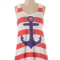 Anchor Tank Top - Red, White and Blue