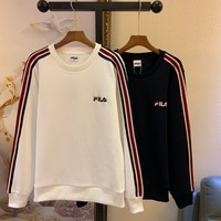 """Champion"" Unisex Contrast Color Simple All-match Stripe Fashion Letter Logo Long Sleeve Sweater Tops"