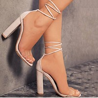 Explosion style hot sale transparent strap high heel sandals women