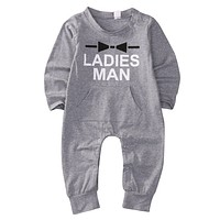 Newborn Kids Baby Boys Warm Ladies Man Long Sleeve Letter Printed Gray Romper Jumpsuit Clothes Outfits