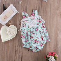 Floral Romper Baby Girl Ruffle Lace Rompers Infant Toddler Jumpsuit Newborn Baby Girl Clothes