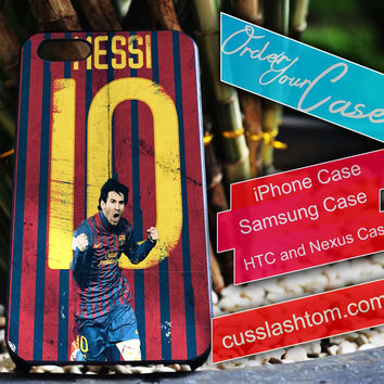Exclusive Lionel Messi iPhone for 4 5 5c 6 Plus Case, Samsung Galaxy for S3 S4 S5 Note 3 4 Case, iPod for 4 5 Case, HtC One M7 M8