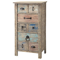 Crestview Collection Lewiston Rustic 5 Drawer Different Hardware Tall Chest