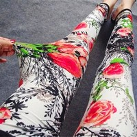 Women's High Quality Floral Printed Fitness Leggings.