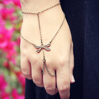dragonfly slave bracelet, bracelet ring, dragonfly ring, hand piece, dragonfly accessory