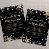 DIY Printable Wedding Invitation Card Template | Editable MS Word file | 5 x 7 | Instant Download | Winter Gold Snowflakes Black