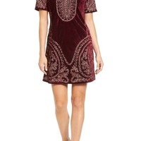 KAS NEW YORK Lily Embroidered Velvet Shift Dress | Nordstrom