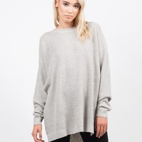 Chunky Side Slit Knit Sweater