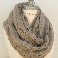 Taupe Chunky Knit I nfinity Scarf Best Selling Item Popular Taupe Scarf Gift for Best Friends - By PiYOYO