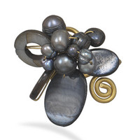 Peacock Cultured Freshwater Pearl and Shell Adjustable Brass Ring