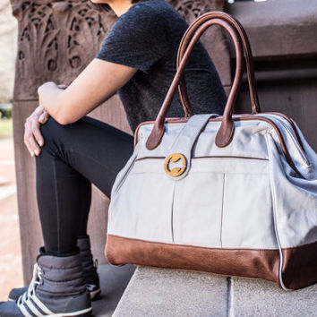 Bestselling gray weekender bag | canvas duffel bag & weekender with vegan leather | carryon bag | overnight bag for women | carryall bag