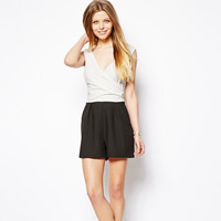 SIMPLE - Women Summer Sexy Black And White Romper Shorts a10773