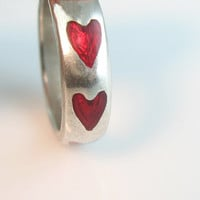 Sterling Enamel Heart Ring Red Enamel Silver Band 1980s Signed Vintage Jewelry Size 6