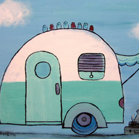 Retro Camper Whimsical Childrens Decor Kids Room Wall by andralynn