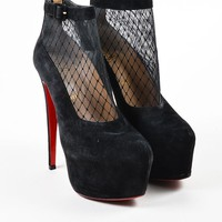 DCCK2 Christian Louboutin Black Suede Lace Illusion Resillissima 160 Booties