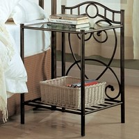 A.M.B. Furniture & Design :: Bedroom furniture :: Nightstands :: Antique green metal finish nightstand with glass shelf