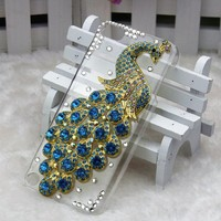 bling 3D clear case light blue peacock diamond rhinestone crystal hard Case cover for apple ipod touch 5 gen 5g 5th