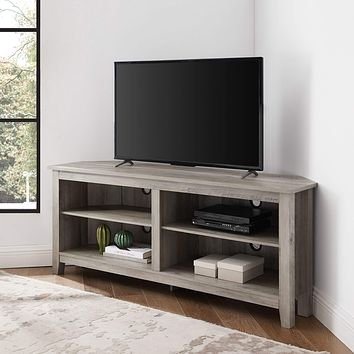 """Walker Edison Furniture Company Simple Farmhouse Wood Stand Cabinets 56"""" Flat Screen Universal TV Console Living Room Storage Shelves Entertainment Center, 58 Inch, Grey"""