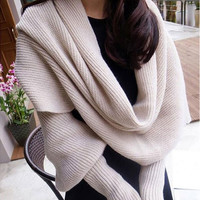 Women Solid Scarf with Sleeves Crochet Knit Long Soft Wrap Shawl Scarves