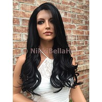 Loose Curl Human Hair Blend Multi Parting Front Lace Wig -donna