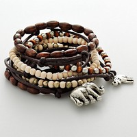 Mudd Silver Tone Elephant Charm & Wood Bead Stretch Bracelet Set (Natural)