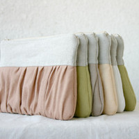 9 Bridal bridesmaids linen clutch pleated Ruched linen choose your colour Bridesmaids gifts