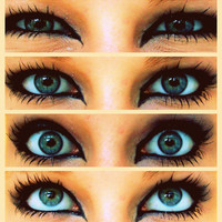 blue eye makeup with black eyeliners - Google Search