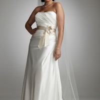 Charmeuse Side-Drape Gown with Sash - David's Bridal