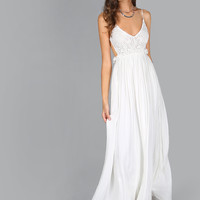 White V-Neck Backless Pleated Maxi Dress