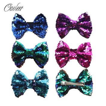 "5Pieces/Lot 4"" Mermaid Hair Bows With Alligator Clip For Girl Handmade Boutique Sequin Hair Bow Kids Hair Accessories"
