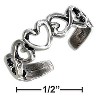 STERLING SILVER INFINITY HEARTS TOE RING