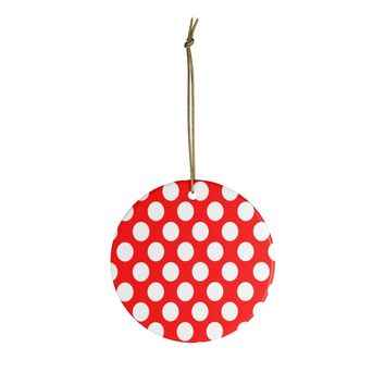 Red & White Polka Dot Ceramic Ornaments