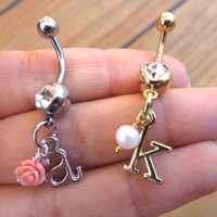 Custom Initial Charm Belly Button Ring Navel Jewelry Piercing Beaded Rose Pearl Amethyst Turquoise Heart Opal Alphabet Bar Birthstone