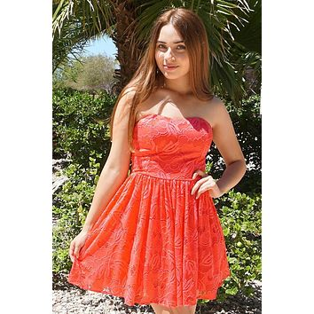 Own The Night Coral Pink Lace Strapless Skater Dress