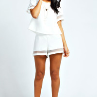Leah Sheer Insert Crop Top & Shorts Co-Ords