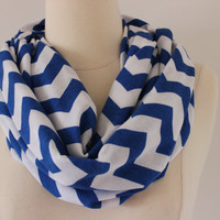 Chevron Scarf- White and Blue Infinity Scarf - Loop Scarf, Circle Scarf - Handmade Women's Accessory
