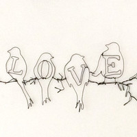 Wire wall art - Sculpture -  Birds and Love  - Gift ideas - Birds and tree