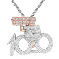 Men's 100 Emoji Gun Shooter Rich Rose Gold Finish Hip Hop Pendant