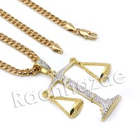 Lab diamond Micro Pave Gangsta Justice Pendant w/ Miami Cuban Chain BR082