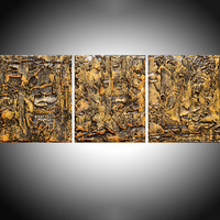 "ARTFINDER: triptych 3 panel large wall decor art "" Golden Glow "" acrylic three part impasto effect 3 panel on canvas wall abstract crystal resin 30 x 12"" by Stuart Wright - "" Golden Glow "" extra large triptych 3 piece im..."