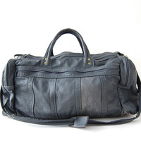 vintage large leather bag. Gray leather duffel bag. Leather suitcase. Leather travel bag. Leather luggage. Slouchy leather hand bag.