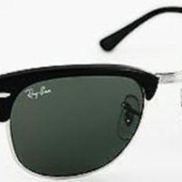 Ray-Ban Clubmaster RB3016 901 Silver & Black / Green G-15 Sunglasses - 51mm