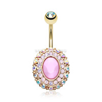 Golden Pink Radiance Belly Button Ring (Aurora Borealis/Pink)